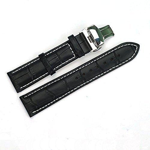 acunion TM 22 mm Rindsleder Leder Armbanduhr Band Push Button Uhrenarmband Butterfly Faltschliesse schwarz