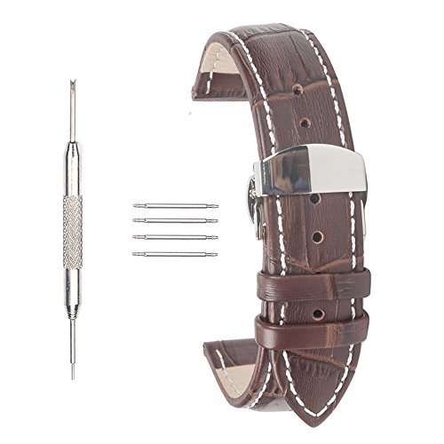 acunion TM 22 mm Rindsleder Leder Uhrenarmband Push Button Schmetterling Faltschliesse Armbanduhr Band Braun