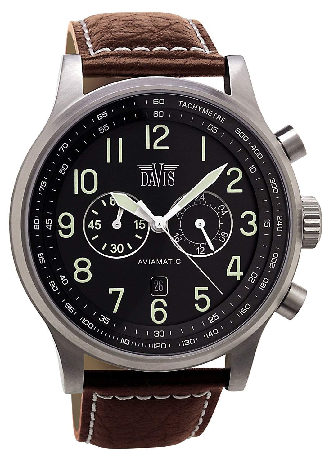 Davis 0451 - Herren Fliegeruhr Chronograph Wasserdicht 50M Ziffernblatt Schwarz Datum Lederarmband Braun