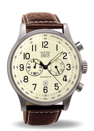 Davis - 0453 - Fliegeruhr im Vintage-Look 48 mm - Beiges Ziffernblatt - Chronograph Wasserdicht 50M - Abgestepptes Armband aus braunem Leder