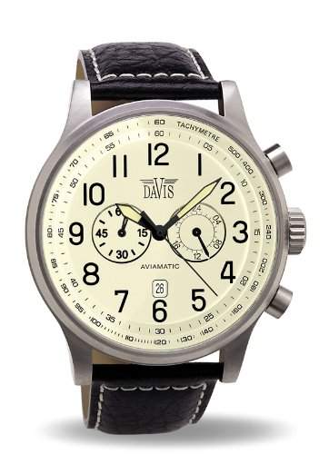 Davis 0454 - Herren Fliegeruhr Chronograph Wasserdicht 50M Ziffernblatt Beige Datum Lederarmband Schwarz