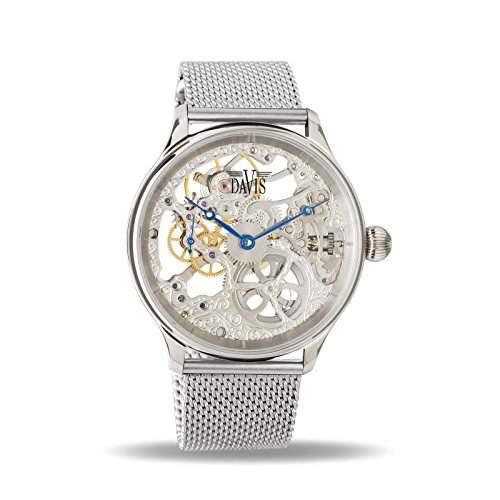 Davis 0890MB-Herren Skelett Armbanduhr Bewegung MECANIQUE Armband Mesh Milanaise