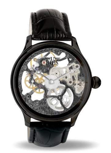 Davis - 0899 - Skeleton Mechanisch Herrenuhr mit sichtbarem Uhrwerk Schwarz - Armband aus schwarzem Leder