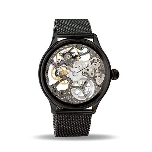 Davis 0899MB - Herren Skeleton Uhr Schwarz Mechanisch Skelett mit sichtbarem Uhrwerk Mesh Armband Schwarz