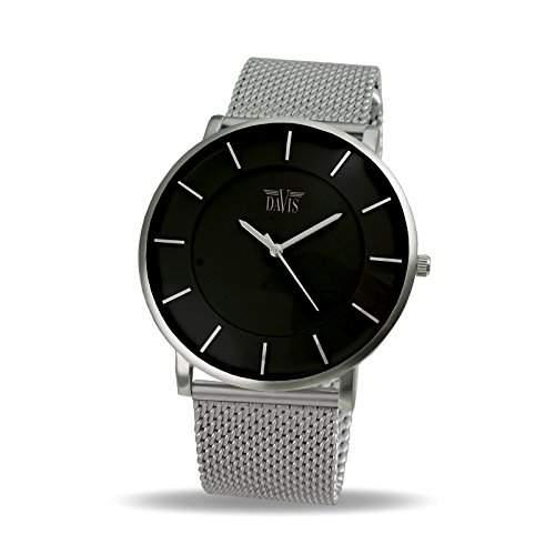 Davis 0910MB - Herren Damen Design Uhr Gehaeuse Extraflach Ziffernblatt Schwarz Mesh Armband