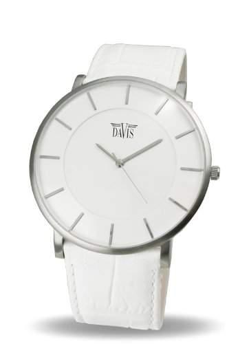 Davis 0911 - Herren Damen Design Uhr Gehaeuse Extraflach Ziffernblatt Weiss Lederarmband Weiss
