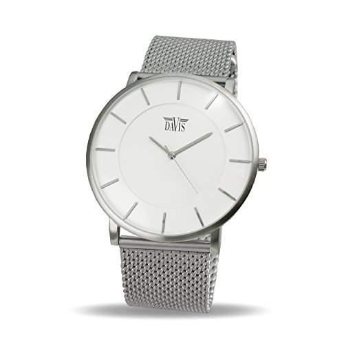 Davis 0911MB - Unisex Design Uhr Gehaeuse Extraflach Ziffernblatt Weiss Mesh Armband