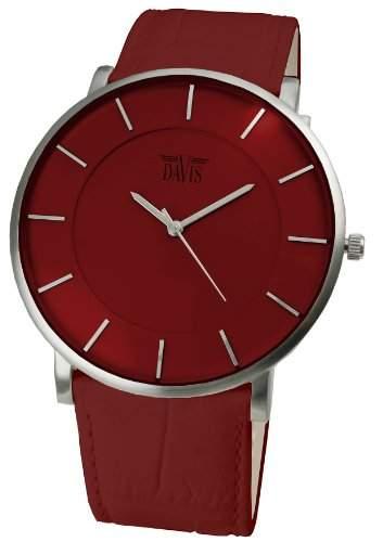 Davis 0912 - Herren Damen Design Uhr Gehaeuse Extraflach Ziffernblatt Rot Lederarmband Rot