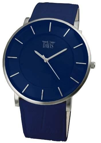 Davis 0915 - Herren Damen Design Uhr Gehaeuse Extraflach Ziffernblatt Blau Lederarmband Blau