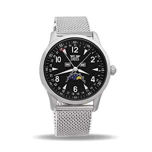 Davis 1500MB - Herren Mondphase Uhr Klassische Dreifach Kalender Ziffernblatt Schwarz Mesh Armband