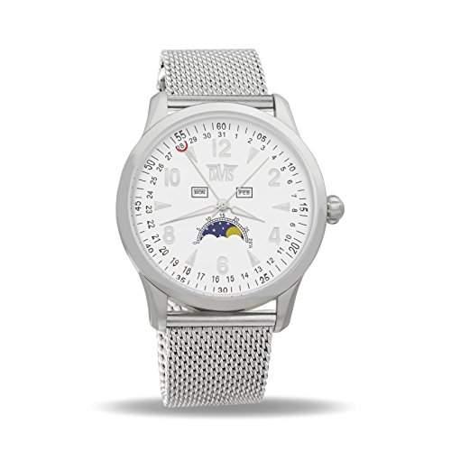 Davis 1501MB - Herren Mondphase Uhr Klassische Dreifach Kalender Ziffernblatt Weiss Mesh Armband