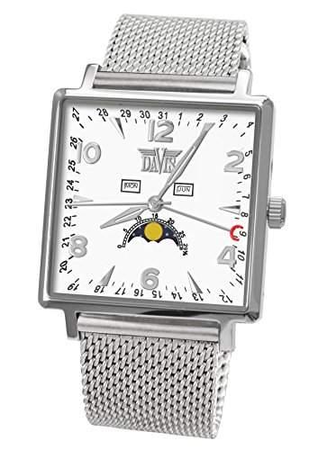 Davis 1731MB-Klassische Herrenuhr Quadratisch-Dreifach-Kalender Mondphase-Weisses Ziffernblatt-Armband Mesh