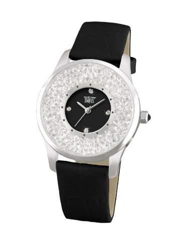 Davis 1780 - Damen Strass Uhr Kristall Swarovski Ziffernblatt Schwarz Armband Leder Schwarz