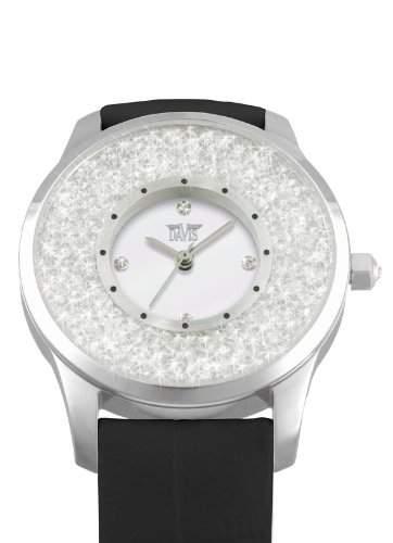 Davis 1783 - Damen Strass Uhr Kristall Swarovski Ziffernblatt Weiss Armband Leder Schwarz