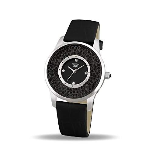 Davis 1783B - Damen Strass Uhr Schwarz Kristall Swarovski Ziffernblatt Schwarz Armband Leder Schwarz