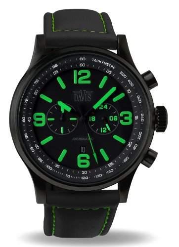 Davis 1842 - Herren Militaer Uhr Blau Chronograph Wasserdicht 50M Ziffernblatt Schwarz Datum Lorica armband Schwarz
