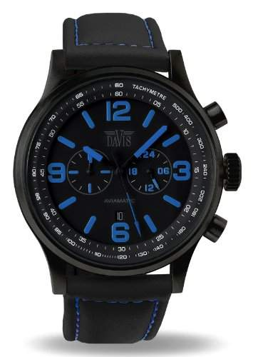 Davis 1843 - Herren Militaer Uhr Gruen Chronograph Wasserdicht 50M Ziffernblatt Schwarz Datum Lorica armband Schwarz