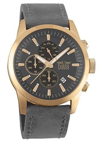 Davis 1960 - Herren Pilot Uhr Rosé Gold Chronograph Wasserdicht 100M Ziffernblatt Grau Lederarmband Grau