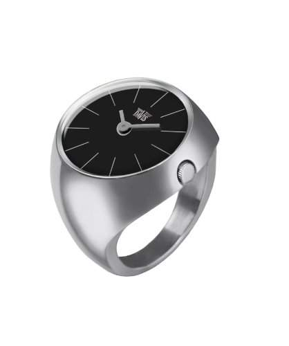 Davis - Ring Watch 2000S - Ringuhr Damen Saphirglas Gewoelbt - Ziffernblatt Schwarz Stabzeiger - Groesse 52