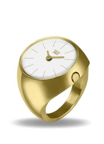 Davis - Ring Watch 2006M - Ringuhr Damen Edelstahl Gold - Saphirglas Gewoelbt - Ziffernblatt Weiss Stabzeiger - Groesse 55