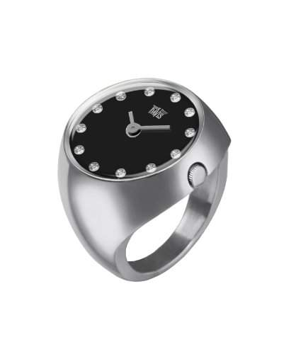 Davis - Ring Watch 2010S - Ringuhr Damen Saphirglas Gewoelbt - Ziffernblatt Schwarz mit Swarovski Strass- Groesse 52