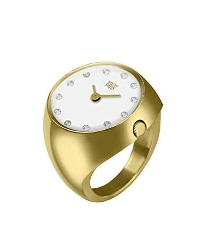 Davis - Ring Watch 2016L - Ringuhr Damen Gold Saphirglas Gewoelbt - Ziffernblatt Weiss mit Swarovski Strass- Groesse 58