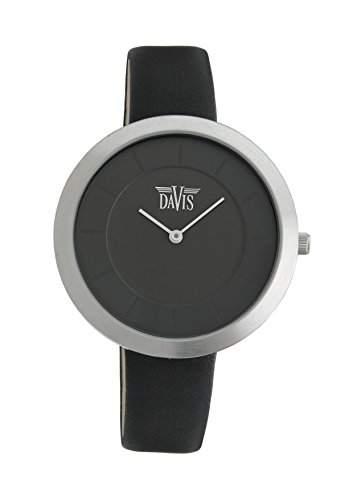Davis 2030 - Damen Design Uhr Gehaeuse Extraflach Ziffernblatt Schwarz Leder Armband Schwarz