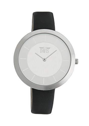 Davis-2031-Damenuhr Design-Edelstahl Ziffernblatt-Gehaeuse flach-Lederarmband
