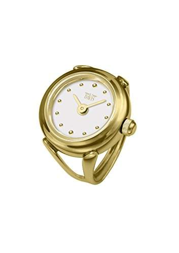 Davis 4180 - Damen Ringuhr Gold Ziffernblatt Weiss mit Index SaphirGlas Verstellbar