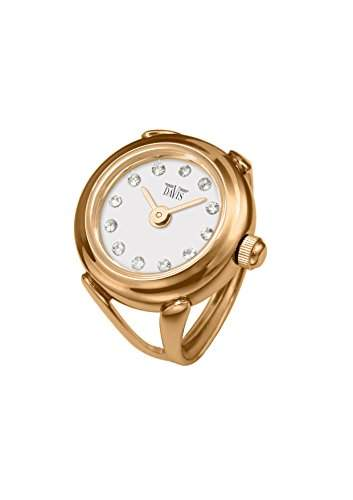 Davis 4161 - Damen Ringuhr Rosé Gold Strass Kristall Swarovski Ziffernblatt Weiss SaphirGlas Verstellbar