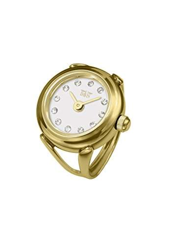 Davis 4174 - Damen Ringuhr Gold Strass Kristall Swarovski Ziffernblatt Weiss SaphirGlas Verstellbar