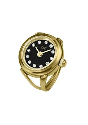 Davis 4175 - Damen Ringuhr Gold Strass Kristall Swarovski Ziffernblatt Weiss SaphirGlas Verstellbar