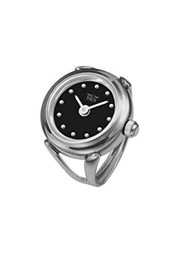 Davis - Ring Watch 4189SW - Ringuhr Damen - Ziffernblatt Schwarz mit index - Verstellbar