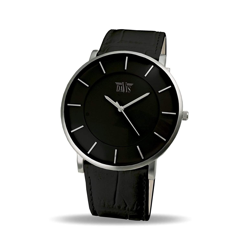 Davis 0910 - Herren Damen Design Uhr Gehaeuse Extraflach Ziffernblatt Schwarz Lederarmband Schwarz