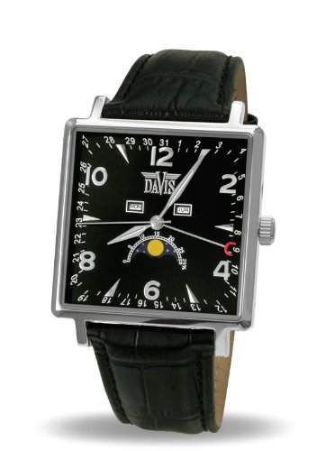 Davis 1730 - Herren Mondphase Uhr Klassische Eckig Dreifach Kalender Ziffernblatt Schwarz Lederarmband Schwarz