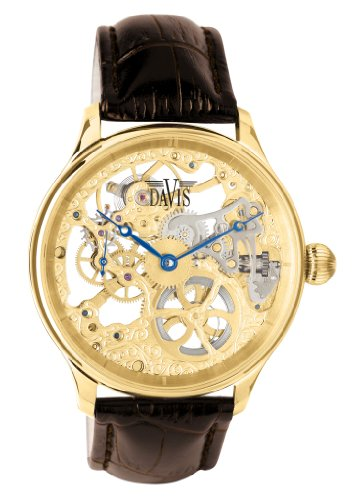 Davis 0895 Skeleton Mechanisch mit sichtbarem Uhrwerk Gold Armband aus braunem Leder