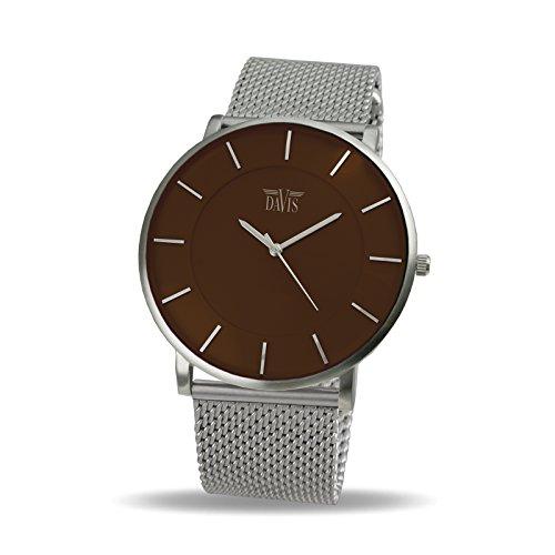 Davis 0916MB Herren Damen Design Uhr Gehaeuse Extraflach Ziffernblatt Braun Mesh Armband
