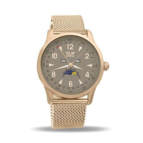 Davis 1507 Herren Mondphase Uhr Klassische Rose Gold Dreifach Kalender Ziffernblatt Grau Mesh Armband