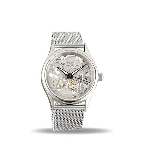 Davis 1680MB Damen Skeleton Uhr Mechanisch Skelett mit sichtbarem Uhrwerk Mesh armband