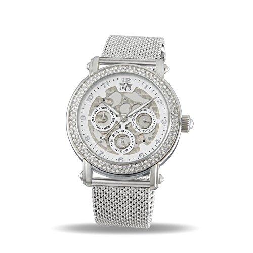 Davis 1810MB Damen Strass Uhr Kristall Swarovski Skelett Ziffernblatt Tag Datum Mesh Armband