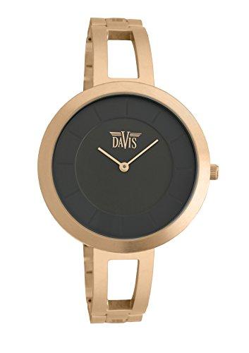 Davis 1835 Damen Design Uhr Rose Gold Gehaeuse Extraflach Ziffernblatt Schwarz Armband Edelestahl