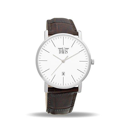 Davis 1990 Herren Damen Design Uhr Klassische Extra Flach Ziffernblatt Weiss Datum Braun Leder Armband