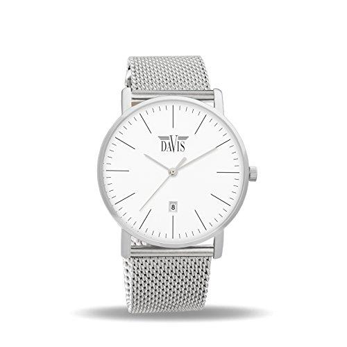 Davis 1990MB Herren Damen Design Uhr Klassische Extra Flach Ziffernblatt Weiss Datum Mesh Armband