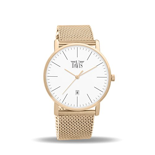 Davis 1992MB Herren Damen Design Uhr Rose Gold Klassische Extra Flach Ziffernblatt Weiss DatumMesh Armband