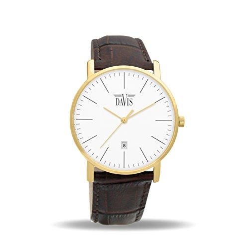 Davis 1994 Herren Damen Design Uhr Gold Klassische Extra Flach Ziffernblatt Weiss Datum Braun Leder Armband