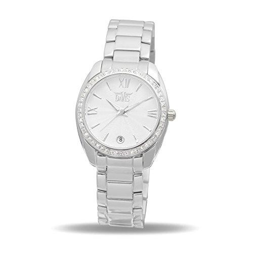 Davis 2020 Damen Strass Uhr Kristall Swarovski Ziffernblatt Weiss Datum Stahl Armband