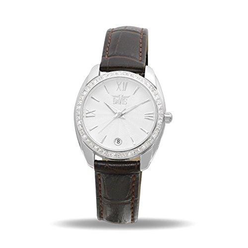 Davis 2021 Damen Strass Uhr Kristall Swarovski Ziffernblatt Weiss Datum Leder Armband Braun