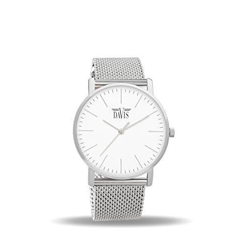 Davis 2050 Damen Design Uhr Klassische Extra Flach Ziffernblatt Weiss Mesh Armband