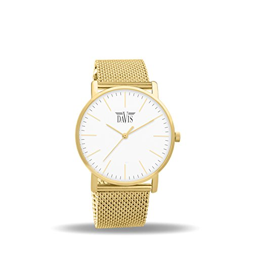 Davis 2054 Damen Design Uhr Gold Klassische Extra Flach Ziffernblatt Weiss Mesh Armband