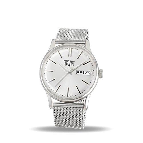 Davis 2090MB Herren Klassische Uhr Retro Ziffernblatt Stahl Tag Datum Mesh Armband